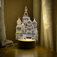 Large Decorative 3D Acrylic Night Lights Wooden Base 7 Colors Changing Led Table Lamp Magical Mood Light for Kids