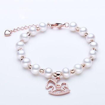 Charm Bracelet Pearl Jewelry Natural Freshwater Pearl Horse Bracelet Sterling Silver