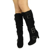 Women's Knee High Knitted Cuff and Buckles High Heel Boots Sz 5.5-10 Black