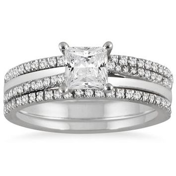 1 1/8 Carat Princess Cut Diamond Three Piece Bridal Set in 14K White G