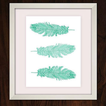 Blue Mint Turquoise Feathers, Digital Art Download, Digital Drint, Canvas Art, Art Print, Large Painting, Instant Download, 8x10
