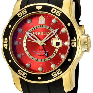 Invicta 6992 Men's Pro Diver Collection 18k Gold-Plated Black Rubber Watch