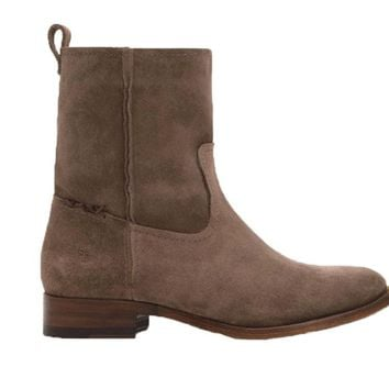 Frye Cara Short Elephant Grey Suede Leather Boots