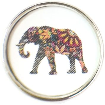 Art Deco Design Colorful Elephant Picture 18MM - 20MM Fashion Snap Jewelry Charm New Item