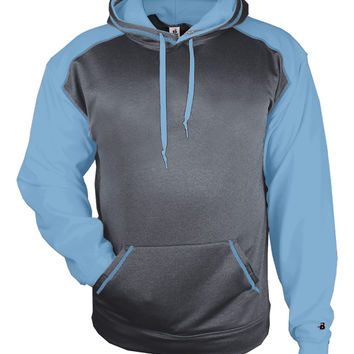 Badger 1468 Sport Heather Hood - Carbon Heather Colombia Blue