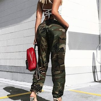 Women Camouflage Pants Zipper Fitness Casual Stretch Cargo Pants