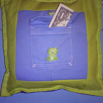Green Frog Pocket Pillow, Tooth Fairy Pilow, Boy's Treasure Keeper!