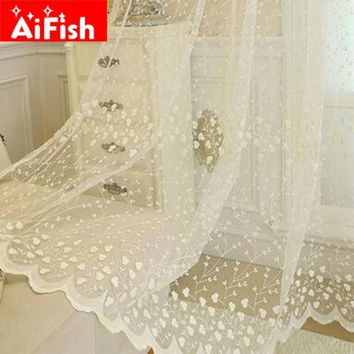 Korean Embroidery Luxury Flowers Lace Finished Curtains