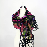 Nuno Felted Scarf   large wrap ribbons and wools tri coloured