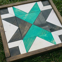 Unique Turquoise Black and White Wood Quilt, Framed Wood Puzzle, Triangles and Squares Wood Art, One of a Kind Gift, Ready to Ship