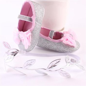 Baby Girl Glitter Bow Softsole Shoes Size 2.5-4