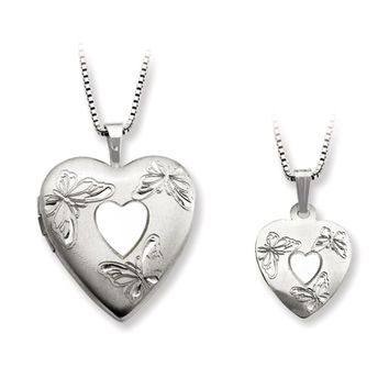 925 Sterling Silver Triple Butterfly Mother Daughter Necklace Set