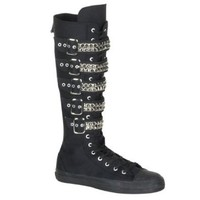 MENS Black Canvas Casual Calf Sneaker Boot With 4 Buckle Punk Rocker Emo Size: 8