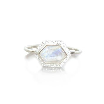 Silver Rainbow Moonstone & Diamond Royale Ring