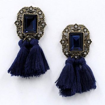 Rosette Vintage Tassel Earrings