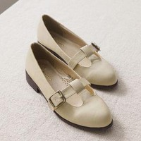 YESSTYLE: Ni-kiyo- Faux-Leather Belted Flats (Beige - Europe 38) - Free International Shipping on orders over $150