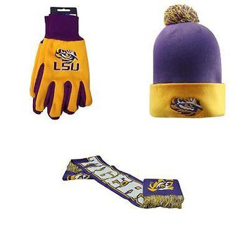 Licensed NCAA LSU Tigers Spirit Scarf Grip Work Glove And Pom Beanie Hat 3 Pack 96299 KO_19_1