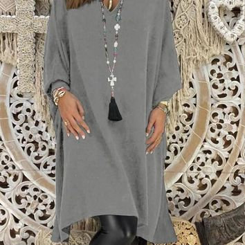 Grey Irregular V-neck Long Sleeve Midi Dress