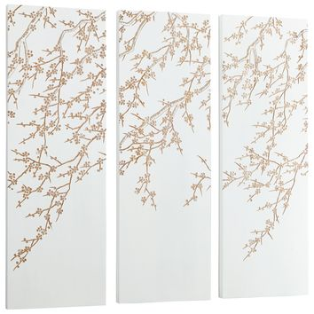 Cherry Blossom Carved Wood Wall Art - White and Gold - Set of 3 by Cyan Design