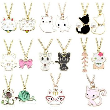 Sweet Kawaii Cat Flower Woolen Ball Bowknot Fish Charms Pendants Enamel Animal Metal Gold Chain Necklaces Women Choker Jewelry