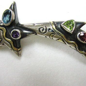Sterling Silver Shooting Star Pin Southwest Design Inlaid Gemstones