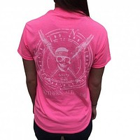 Southern Attitude Salty To The Bone Skull Pink T-Shirt
