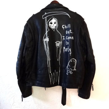 Vintage Black Leather Motorcycle Jacket - Grim Reaper - Hand Painted - Large -
