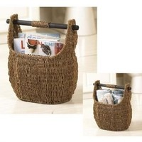 """Seagrass Basket With Wooden Handle 13"""" X 16""""h"""