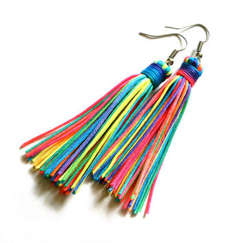 Neon Rainbow Tassel Earrings