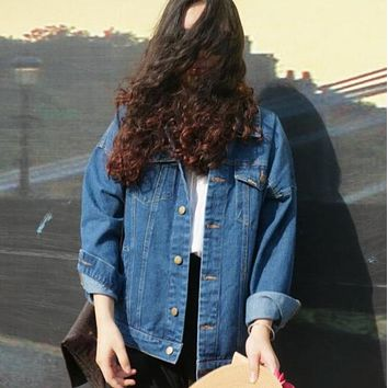 Womens Denim Vintage Harajuku Oversize Loose Female Jeans Coat Solid Slim Jacket