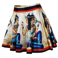 Aoki Fashion - Roman Women Image High-waisted Pleated Skirt