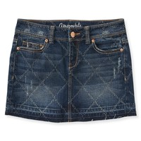 Distressed Pattern Denim Mini Skirt