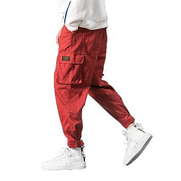 2018 Men Multi-pocket Elastic Waist Design Harem Pant Street Punk Hip Hop Red Casual Trousers Joggers Male Army Cargo Pants 5XL