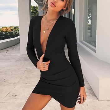 Fashionable Sexy Women's Dresses with Deep V Back and Long Sleeves