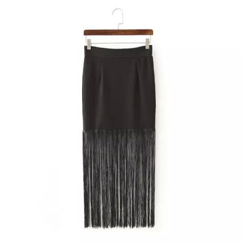 Summer Women's Fashion Sexy Mosaic Tassels Slim Dress Skirt [6047739841]