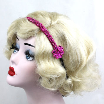 Pink Headband, 1920s Flapper Headband, Prom Hair Accessory, Black Headband, Flower Headband, Hot Pink, Bridesmaid Hair Accessories