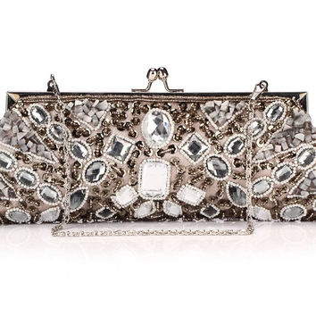 100% Hot Women's Evening Bag Acrylic Beads Clutch Bag Delicate Banquet Bag Party Purse Handmade Beaded Craft Handbag NO256