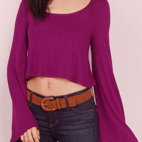 Red Flare Sleeve Crop Top