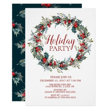 Beautiful Christmas Bird Holiday Party Invitation