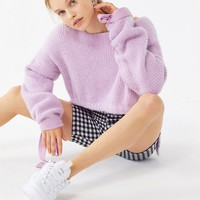 UO Eyelash Drawstring Hem High/Low Sweater | Urban Outfitters