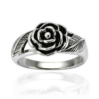 Amazon.com: Chuvora .925 Sterling Silver Oxidized Detailed Rose Flower with Leaves Band Ring for Women - Nickel Free: Jewelry