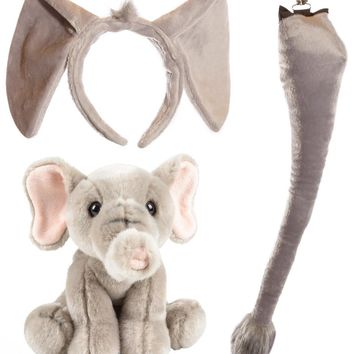 Wildlife Tree Stuffed Plush Elephant Ears Headband and Tail Set with Baby Plush Toy Elephant Bundle for Pretend Play Animals Dressup