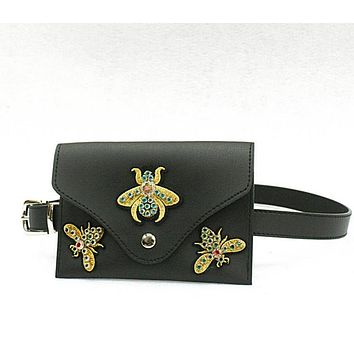 Fashion Fine Bee Belt Purse Embroidery Drill Small Bee Waist Bag