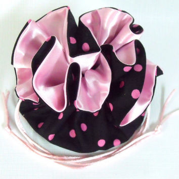 Jewelry Drawstring Bag, Travel Bag,  Medium, Black and Pink Polka Dot
