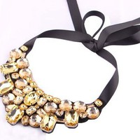 Women's Fashion Artificial Crystal Rhinestone Collar Necklace with Ribbon Tie (Champagne)