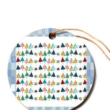 """bruxamagica """"Cute Colorful Christmas Tree"""" Multicolor White Pattern Holiday Illustration Circle Holiday Ornament"""