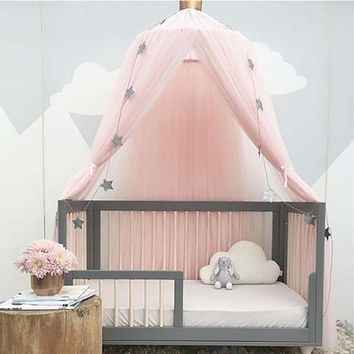 2018 New Fashion Baby Lace Crib Tent Round Dome Hanging Curtain Mosquito Net Kids Room Decor