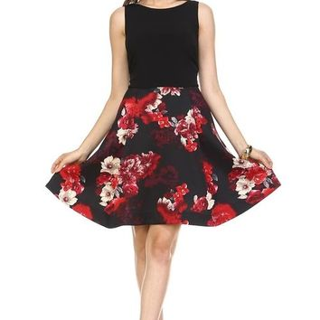 Womens  Pretty A-Line Floral Print Dress All Sizes