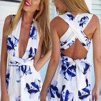 White and Blue Floral Romper | A Handmade Hustle