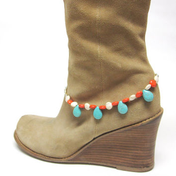 Boot Bracelet Turquoise Blue Coral Orange White Silver Western Cowgirl Jewelry Bling